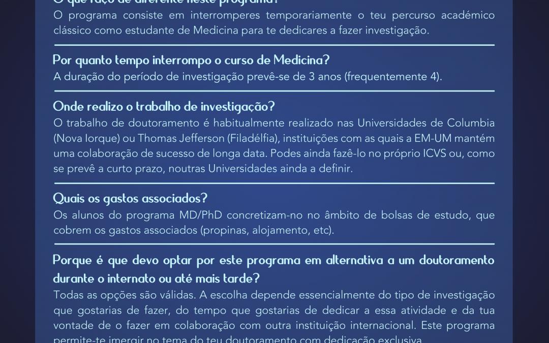Não Fiques de Fora! – Cartaz Programa MD/PhD